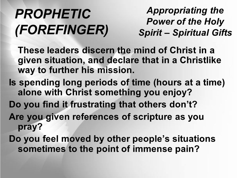 Appropriating the power of the holy spirit spiritual giftsa appropriating the power of the holy spirit spiritual gifts prophetic forefinger these leaders negle Image collections