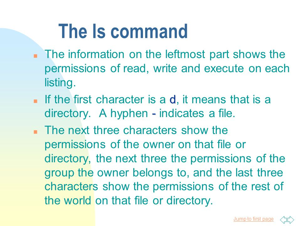 Jump to first page The ls command ls option argument n General form: ls option argument.