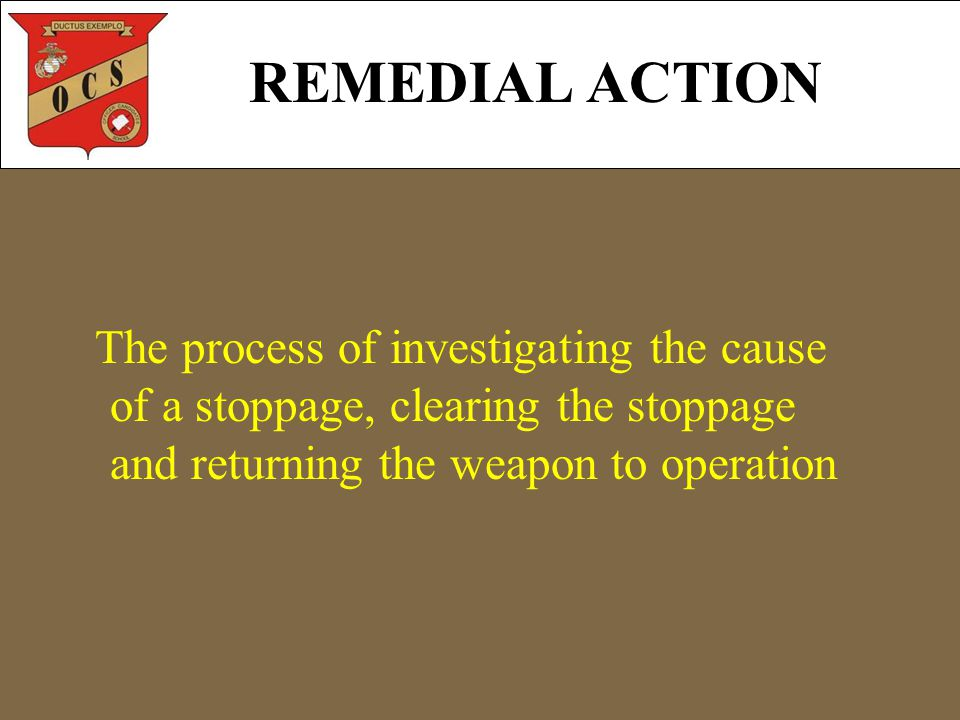 REMEDIAL ACTION The process of investigating the cause of a stoppage, clearing the stoppage and returning the weapon to operation
