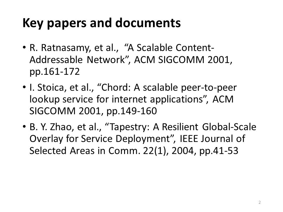 Key papers and documents R.