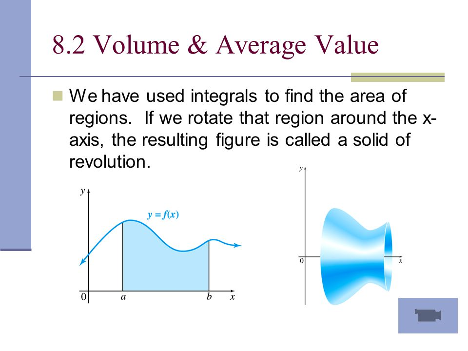 8.2 Volume & Average Value We have used integrals to find the area of regions.