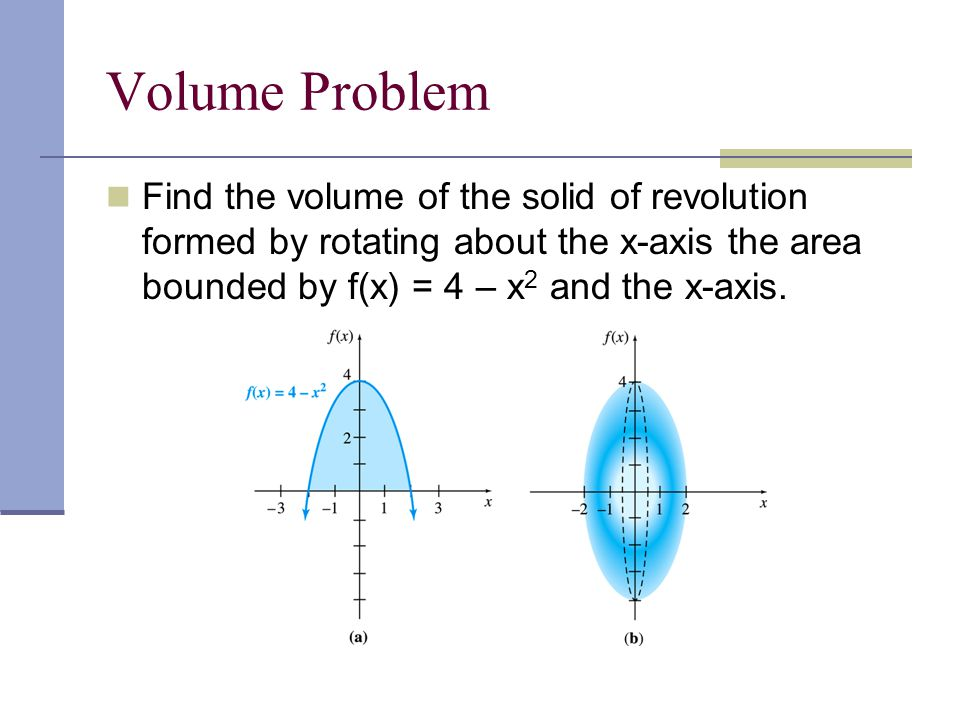 Volume Problem Find the volume of the solid of revolution formed by rotating about the x-axis the area bounded by f(x) = 4 – x 2 and the x-axis.