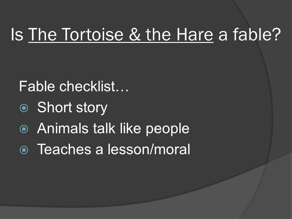 Is The Tortoise & the Hare a fable.