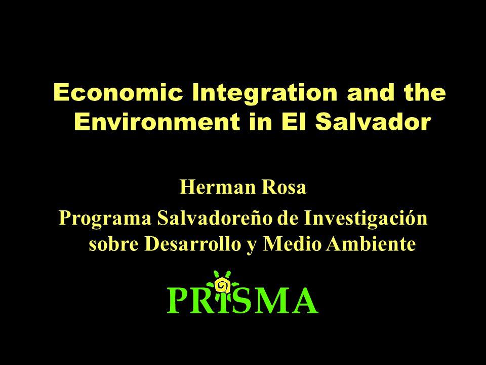 Economic lntegration and the Environment in El Salvador Herman Rosa Programa Salvadoreño de Investigación sobre Desarrollo y Medio Ambiente