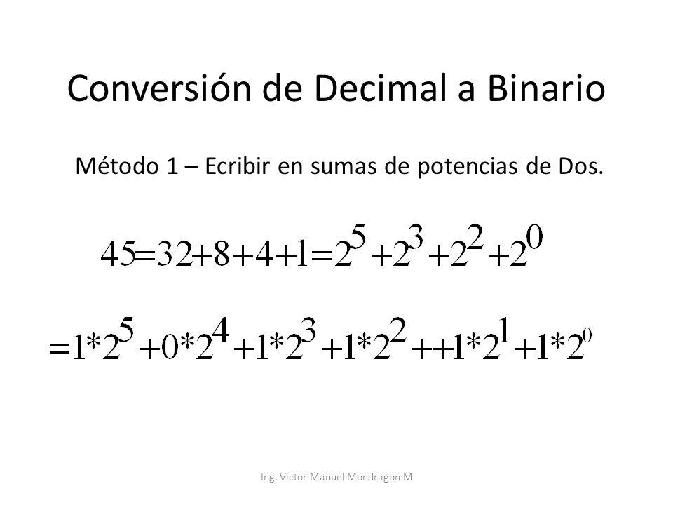 Ing. Victor Manuel Mondragon M Conversión de Decimal a Binario Método 1 – Ecribir en sumas de potencias de Dos.