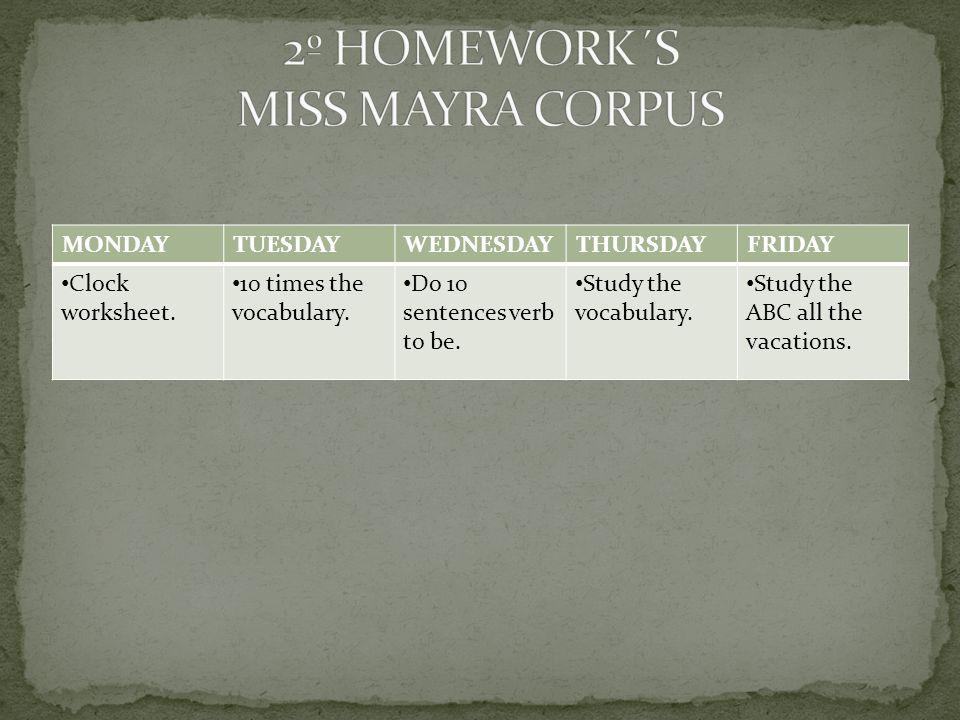 MONDAYTUESDAYWEDNESDAYTHURSDAYFRIDAY Clock worksheet.