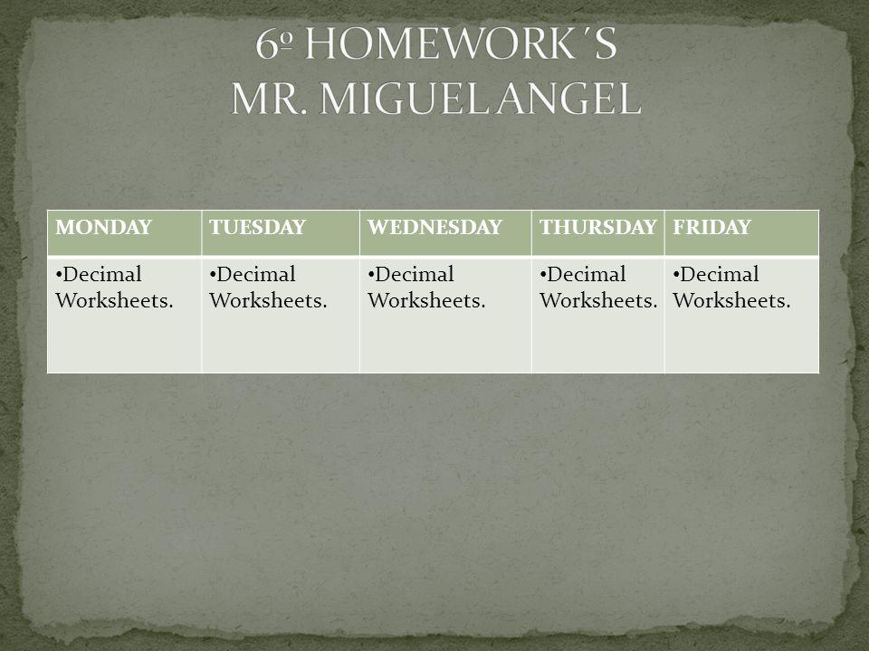 MONDAYTUESDAYWEDNESDAYTHURSDAYFRIDAY Decimal Worksheets.