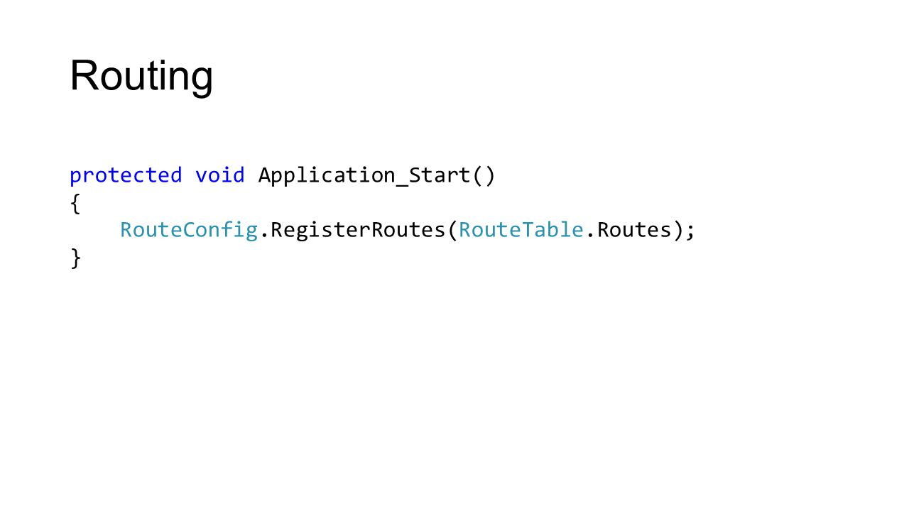 Routing protected void Application_Start() { RouteConfig.RegisterRoutes(RouteTable.Routes); }