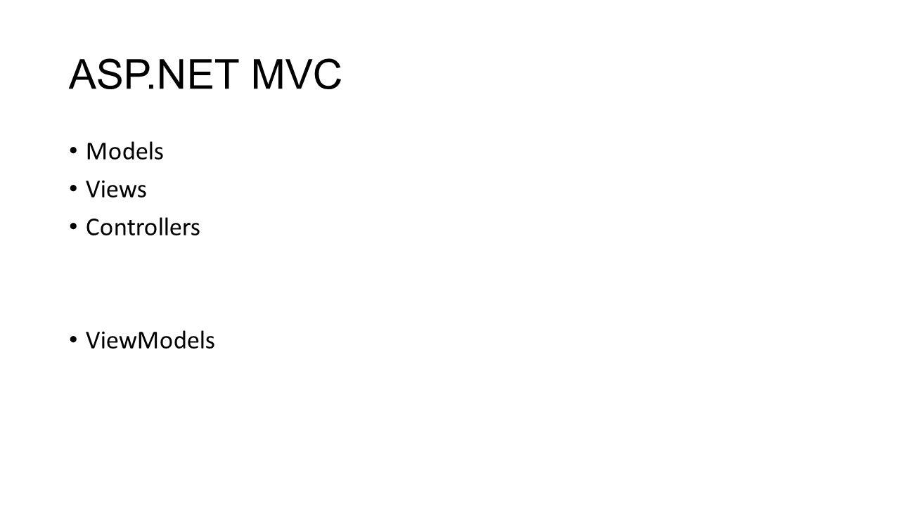 ASP.NET MVC Models Views Controllers ViewModels