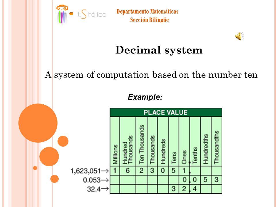 Departamento Matemáticas Sección Bilingüe Decimal system A system of computation based on the number ten Example: