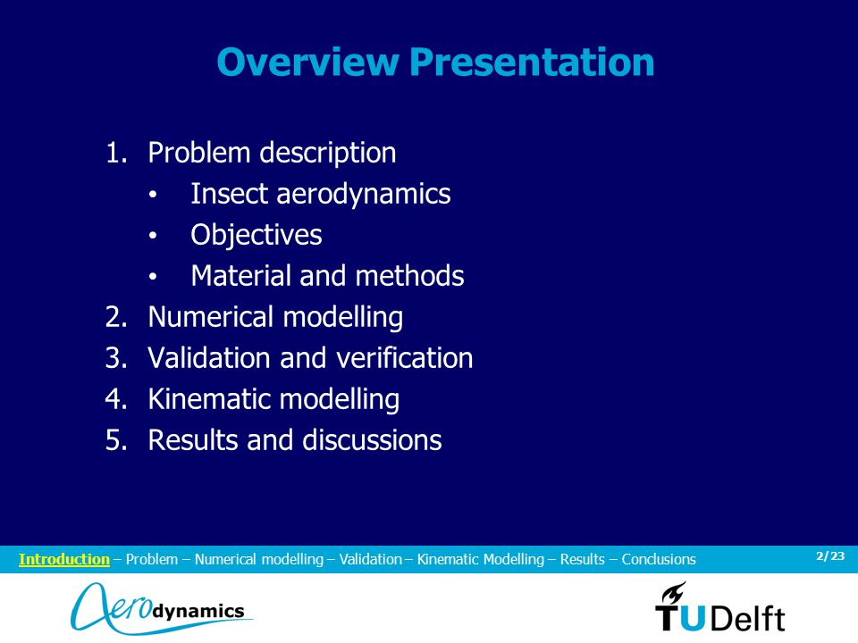 2/23 Overview Presentation 1.Problem description Insect aerodynamics Objectives Material and methods 2.Numerical modelling 3.Validation and verification 4.Kinematic modelling 5.Results and discussions Introduction – Problem – Numerical modelling – Validation – Kinematic Modelling – Results – Conclusions