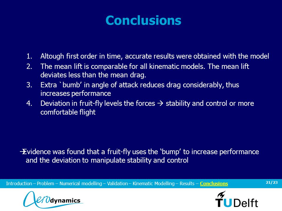 21/23 Conclusions 1.Altough first order in time, accurate results were obtained with the model 2.The mean lift is comparable for all kinematic models.