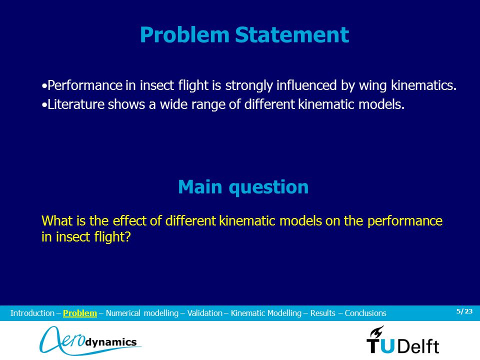 5/23 Problem Statement Performance in insect flight is strongly influenced by wing kinematics.