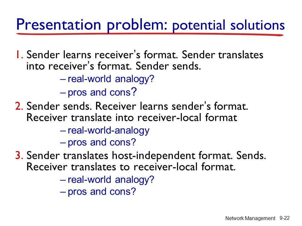 Network Management 9-22 Presentation problem: potential solutions 1.