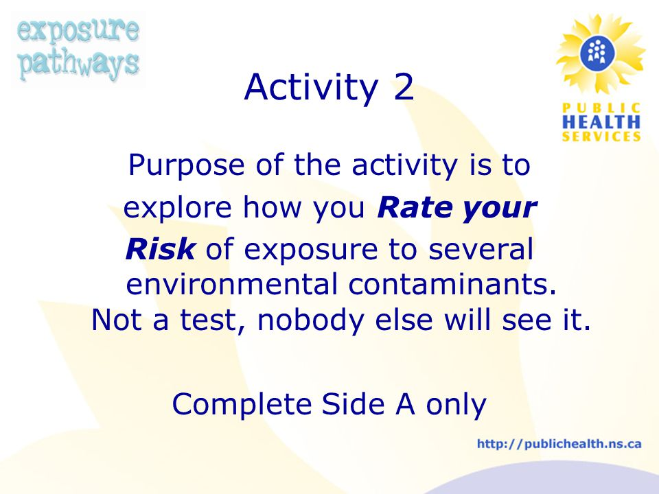 Activity 2 Purpose of the activity is to explore how you Rate your Risk of exposure to several environmental contaminants.