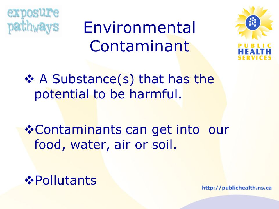 Environmental Contaminant  A Substance(s) that has the potential to be harmful.