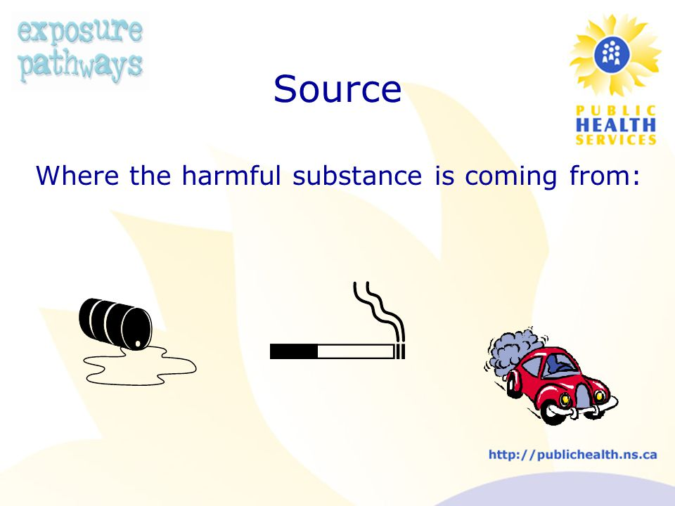 Source Where the harmful substance is coming from: