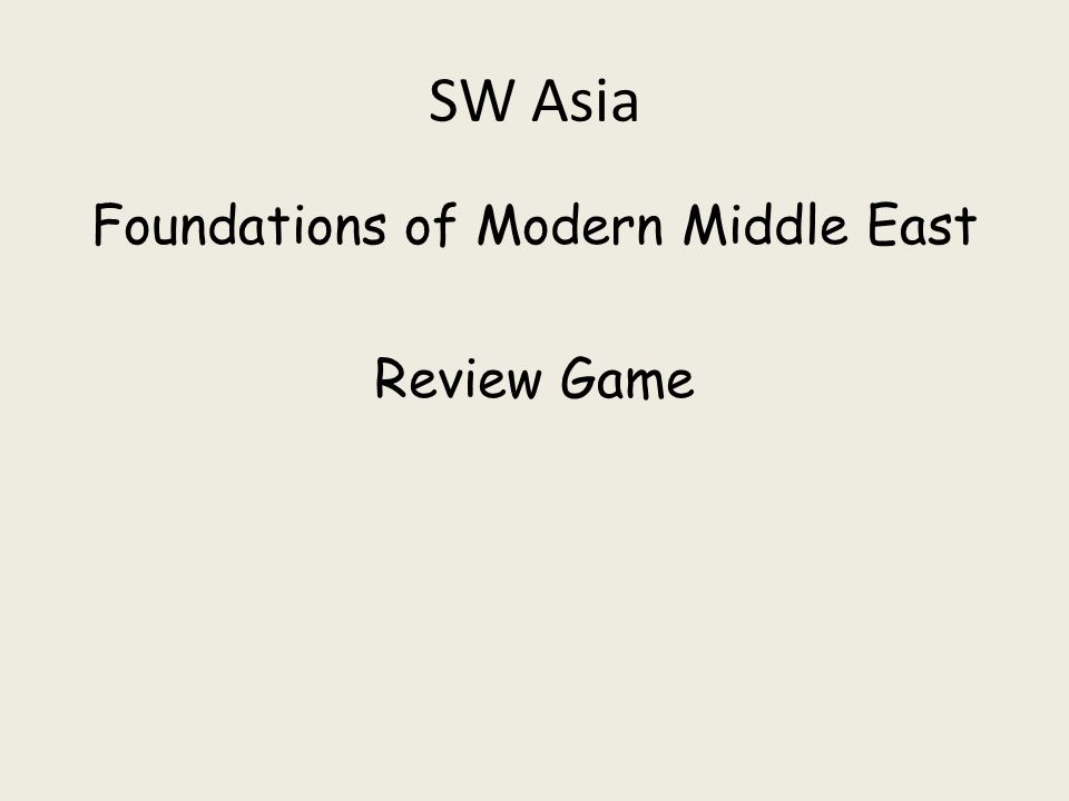 SW Asia Foundations of Modern Middle East Review Game