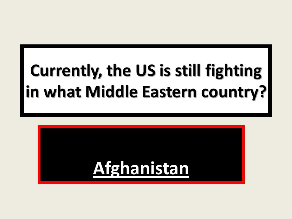 Currently, the US is still fighting in what Middle Eastern country Afghanistan
