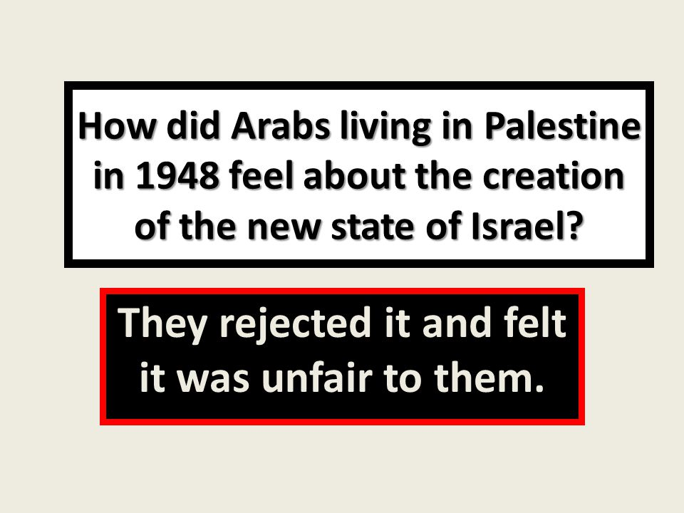 How did Arabs living in Palestine in 1948 feel about the creation of the new state of Israel.