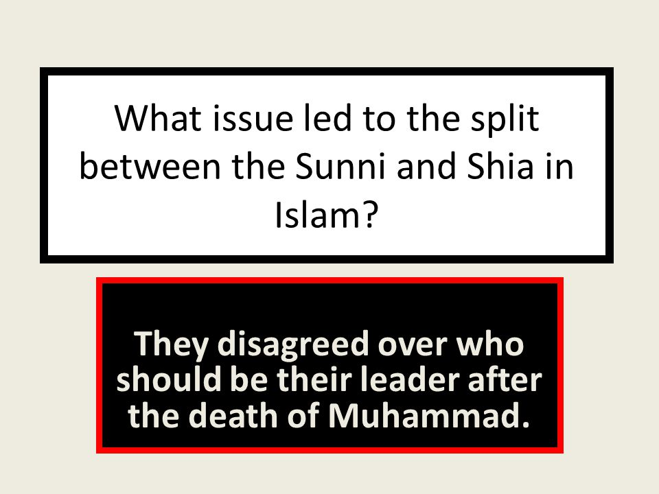 What issue led to the split between the Sunni and Shia in Islam.