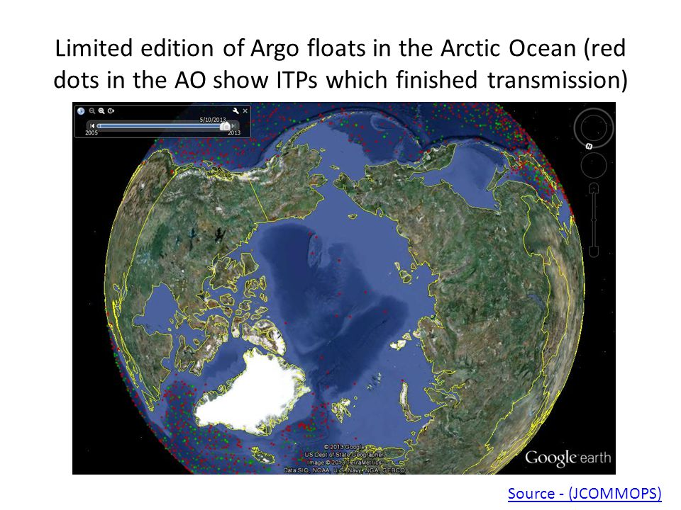 Limited edition of Argo floats in the Arctic Ocean (red dots in the AO show ITPs which finished transmission) Source - (JCOMMOPS)