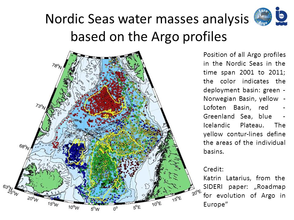 Nordic Seas water masses analysis based on the Argo profiles Position of all Argo profiles in the Nordic Seas in the time span 2001 to 2011; the color indicates the deployment basin: green - Norwegian Basin, yellow - Lofoten Basin, red - Greenland Sea, blue - Icelandic Plateau.
