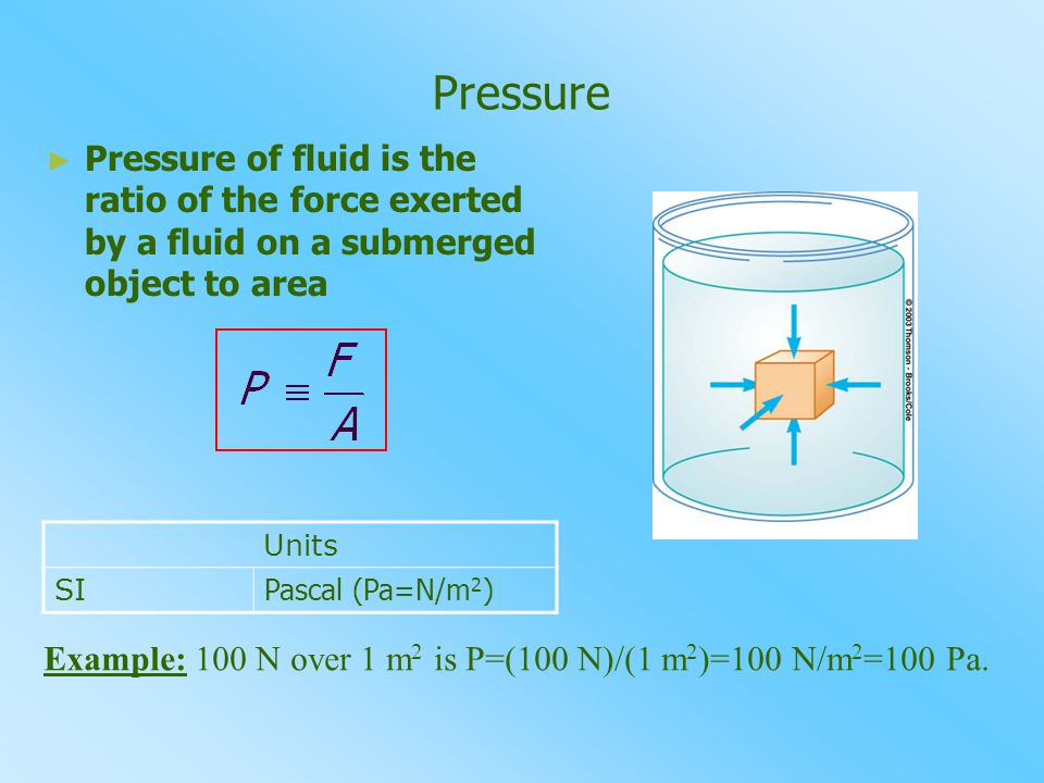 Pressure ► ► Pressure of fluid is the ratio of the force exerted by a fluid on a submerged object to area Units SI Pascal (Pa=N/m 2 ) Example: 100 N over 1 m2 m2 is P=(100 N)/(1 m 2 )=100 N/m 2 =100 Pa.