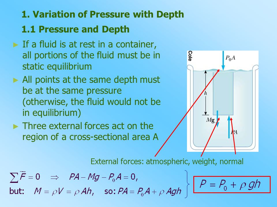 1.1 Pressure and Depth ► ► If a fluid is at rest in a container, all portions of the fluid must be in static equilibrium ► ► All points at the same de
