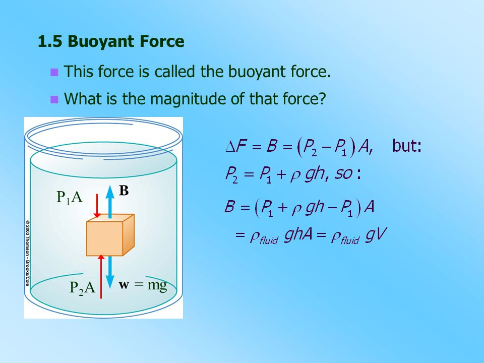 1.5 Buoyant Force This force is called the buoyant force.