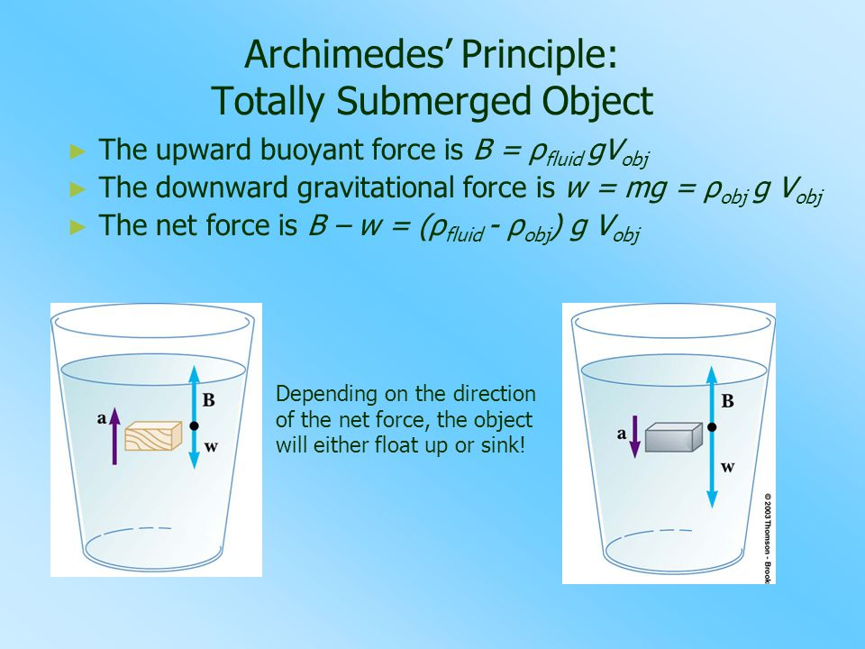 Archimedes' Principle: Totally Submerged Object ► ► The upward buoyant force is B = ρ fluid gV obj ► ► The downward gravitational force is w = mg = ρ obj g V obj ► ► The net force is B – w = (ρ fluid - ρ obj ) g V obj Depending on the direction of the net force, the object will either float up or sink!
