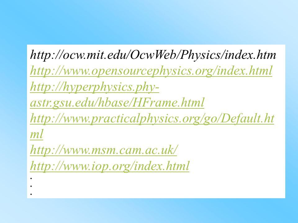 http://ocw.mit.edu/OcwWeb/Physics/index.htm http://www.opensourcephysics.org/index.html http://hyperphysics.phy- astr.gsu.edu/hbase/HFrame.html http://www.practicalphysics.org/go/Default.ht ml http://www.msm.cam.ac.uk/ http://www.iop.org/index.html...