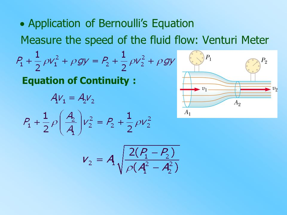 Measure the speed of the fluid flow: Venturi Meter  Application of Bernoulli's Equation Equation of Continuity :
