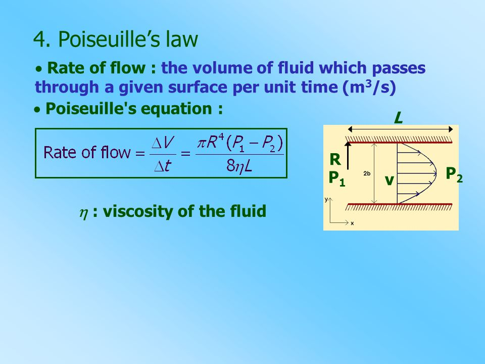  Rate of flow : the volume of fluid which passes through a given surface per unit time (m 3 /s) 4. Poiseuille's law  Poiseuille's equation : R P1P1