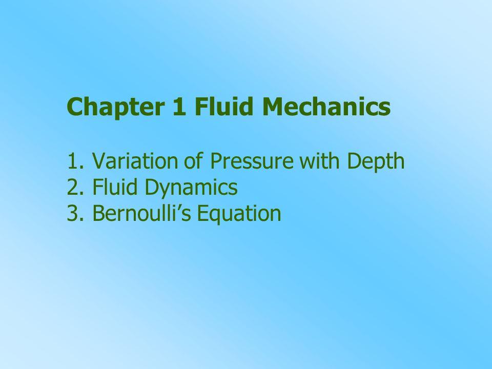 Chapter 1 Fluid Mechanics 1.Variation of Pressure with Depth 2.