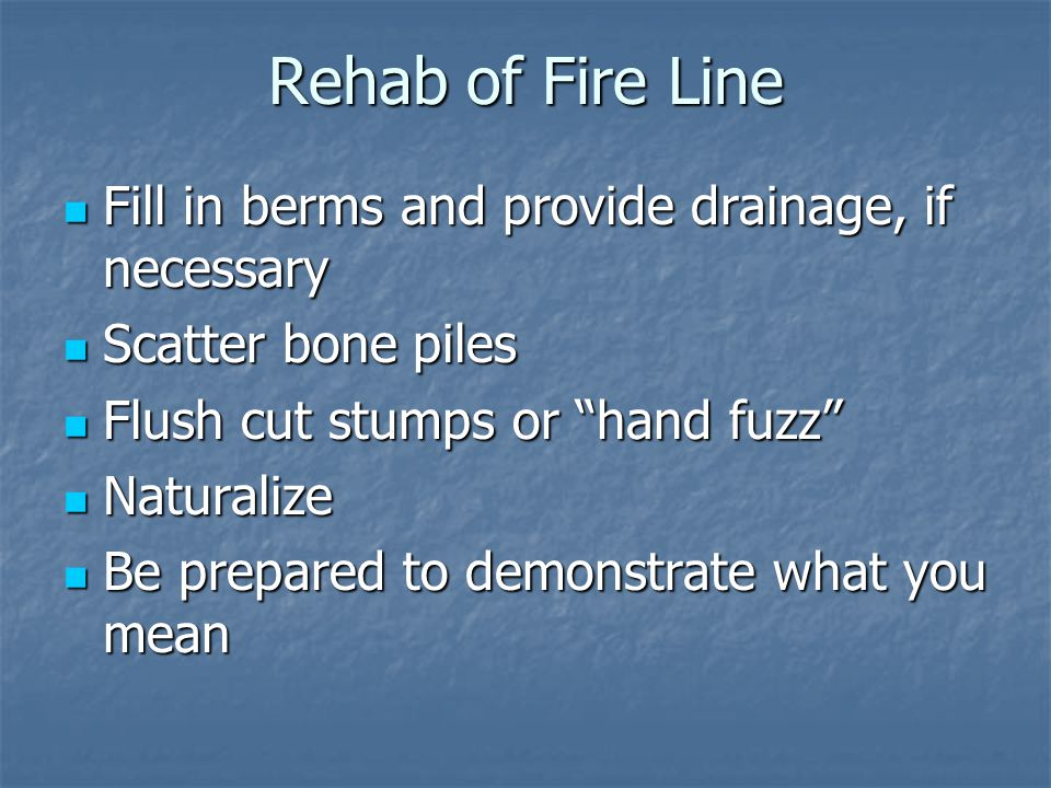 Rehab of Fire Line Fill in berms and provide drainage, if necessary Fill in berms and provide drainage, if necessary Scatter bone piles Scatter bone piles Flush cut stumps or hand fuzz Flush cut stumps or hand fuzz Naturalize Naturalize Be prepared to demonstrate what you mean Be prepared to demonstrate what you mean