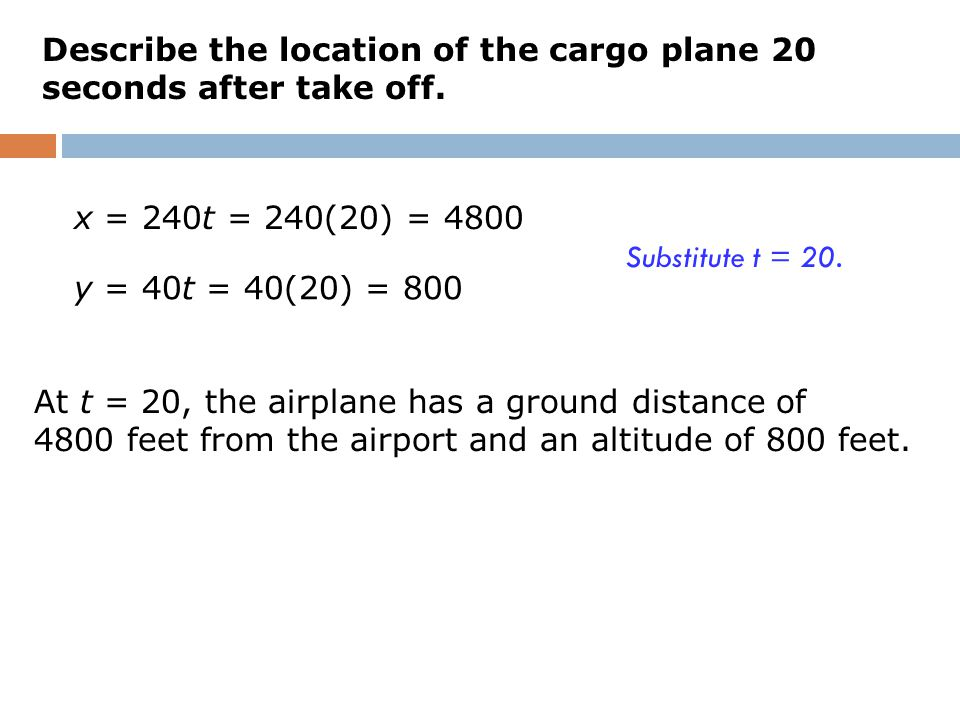 Describe the location of the cargo plane 20 seconds after take off.