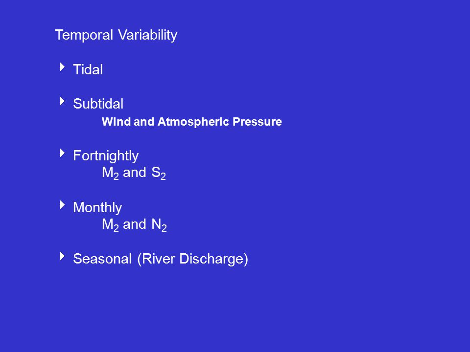 Estuarine Variability  TidalTidal  Subtidal Wind and Atmospheric Pressure  Fortnightly M 2 and S 2  Monthly M 2 and N 2  Seasonal (River Discharge)