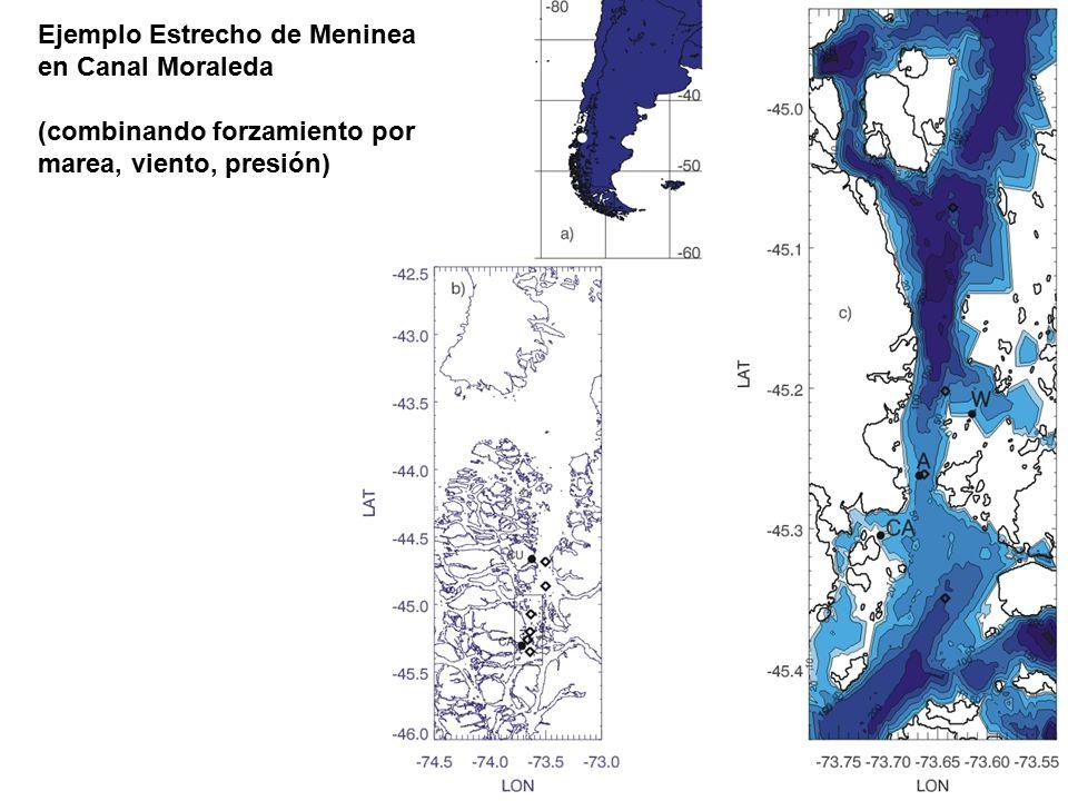 Ejemplo Estrecho de Meninea en Canal Moraleda (combinando forzamiento por marea, viento, presión)