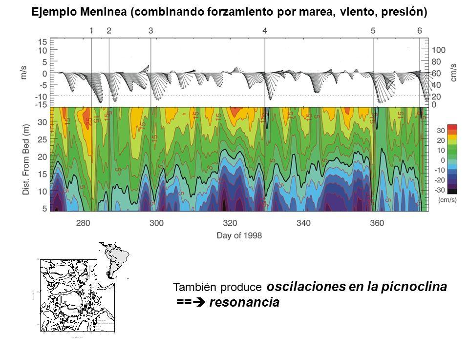 Ejemplo Meninea (combinando forzamiento por marea, viento, presión) También produce oscilaciones en la picnoclina ==  resonancia