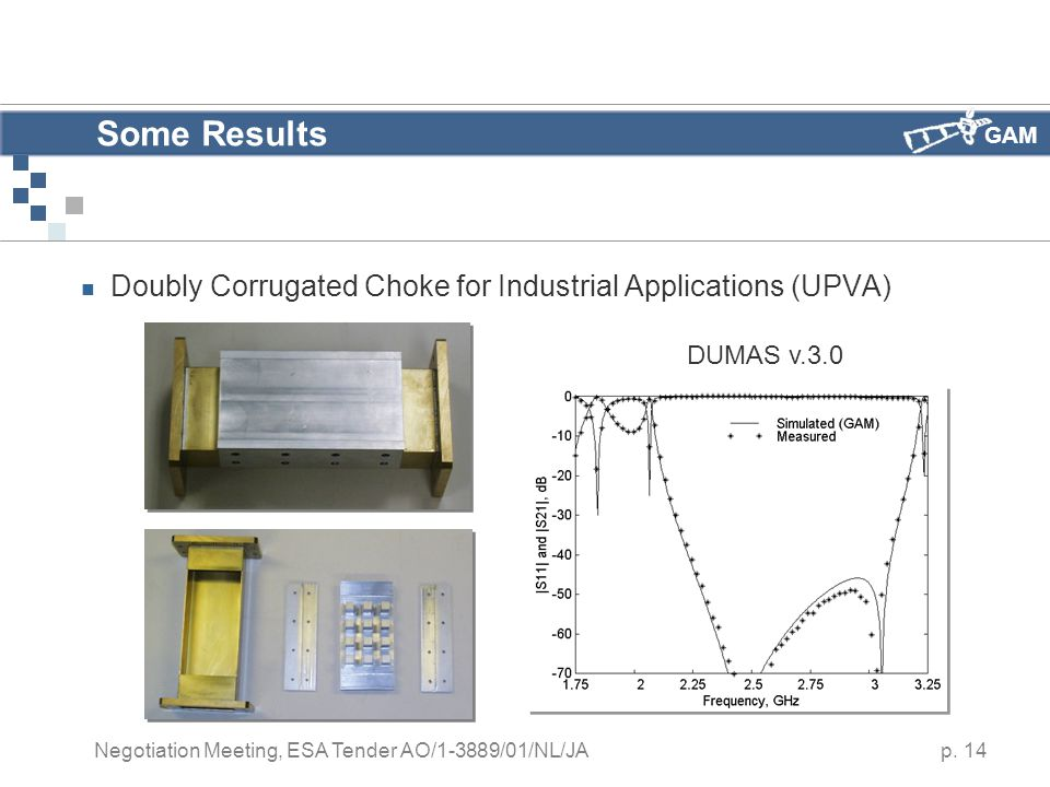 GAM p. 14 Negotiation Meeting, ESA Tender AO/1-3889/01/NL/JA Some Results Doubly Corrugated Choke for Industrial Applications (UPVA) DUMAS v.3.0