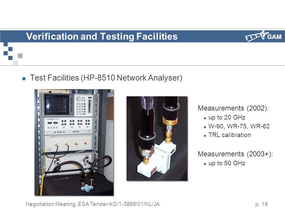 GAM p. 16 Negotiation Meeting, ESA Tender AO/1-3889/01/NL/JA Verification and Testing Facilities Test Facilities (HP-8510 Network Analyser) Measuremen