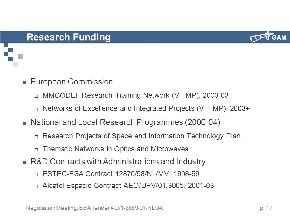 GAM p. 17 Negotiation Meeting, ESA Tender AO/1-3889/01/NL/JA Research Funding European Commission  MMCODEF Research Training Network (V FMP), 2000-03
