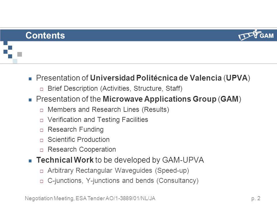 GAM p. 2 Negotiation Meeting, ESA Tender AO/1-3889/01/NL/JA Contents Presentation of Universidad Politécnica de Valencia (UPVA)  Brief Description (A