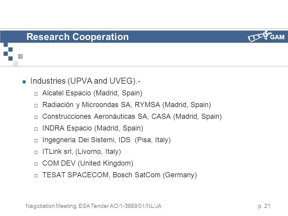 GAM p. 21 Negotiation Meeting, ESA Tender AO/1-3889/01/NL/JA Research Cooperation Industries (UPVA and UVEG).-  Alcatel Espacio (Madrid, Spain)  Rad