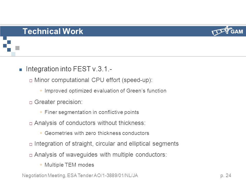 GAM p. 24 Negotiation Meeting, ESA Tender AO/1-3889/01/NL/JA Technical Work Integration into FEST v.3.1.-  Minor computational CPU effort (speed-up):