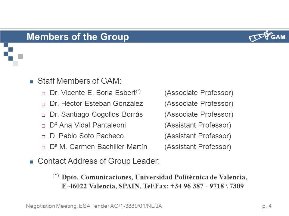 GAM p. 4 Negotiation Meeting, ESA Tender AO/1-3889/01/NL/JA Members of the Group Staff Members of GAM:  Dr. Vicente E. Boria Esbert (*) (Associate Pr