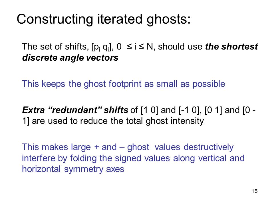 15 Constructing iterated ghosts: The set of shifts, [p i q i ], 0 ≤ i ≤ N, should use the shortest discrete angle vectors This keeps the ghost footprint as small as possible Extra redundant shifts of [1 0] and [-1 0], [0 1] and [0 - 1] are used to reduce the total ghost intensity This makes large + and – ghost values destructively interfere by folding the signed values along vertical and horizontal symmetry axes