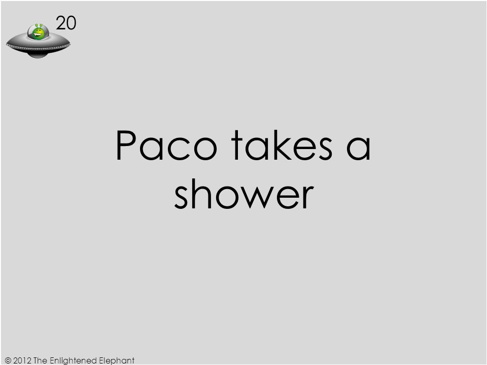 20 Paco takes a shower © 2012 The Enlightened Elephant