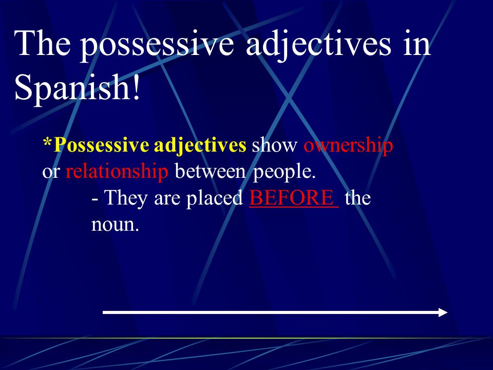 Posessive Adjectives It 's like saying my dog, your house, his notebook, etc.